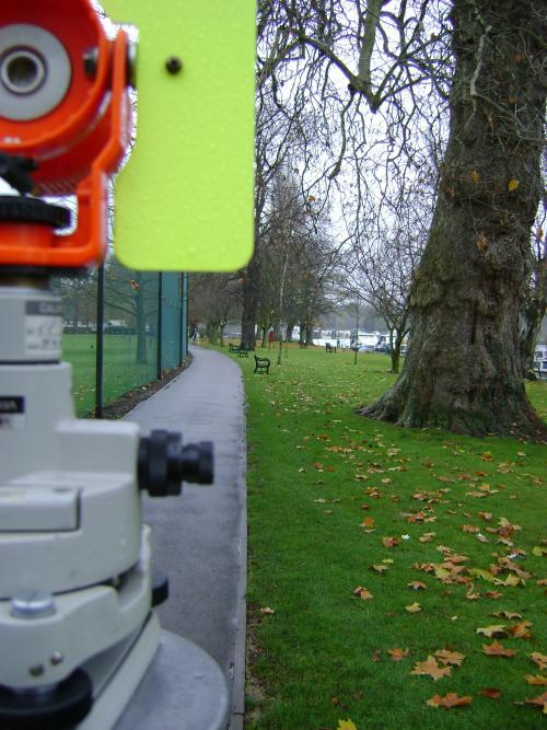 land survey by the river thames