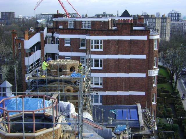 Land survey, floor plans and context elevations of apartment building in St Johns Wood